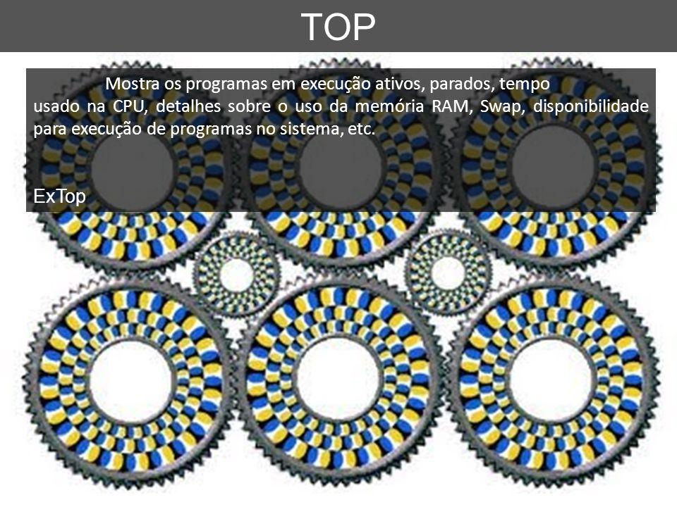 TOP Mostra os programas em execução ativos, parados, tempo usado na CPU, detalhes sobre o uso da memória RAM, Swap, disponibilidade para execução de p