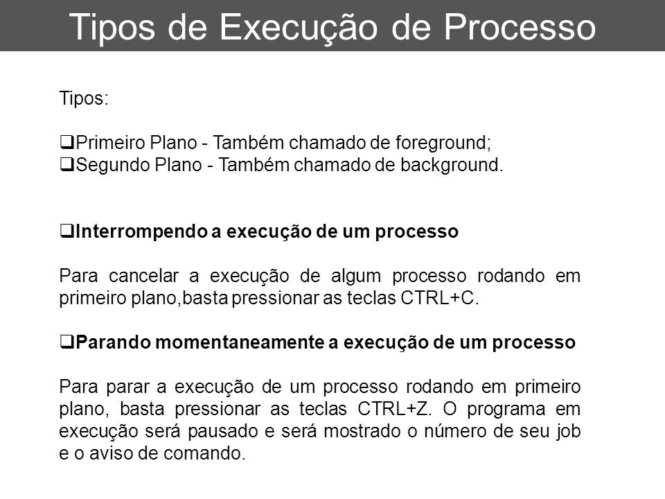Tipos de Execução de Processo Tipos:  Primeiro Plano - Também chamado de foreground;  Segundo Plano - Também chamado de background.  Interrompendo