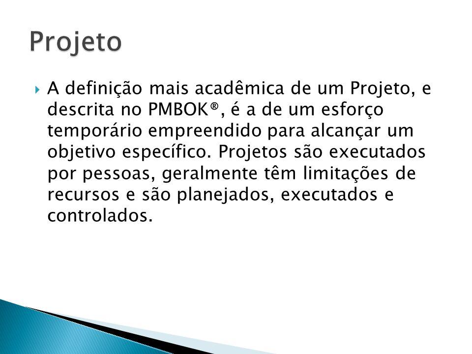 A definição mais acadêmica de um Projeto, e descrita no PMBOK®, é a de um esforço temporário empreendido para alcançar um objetivo específico. Proje