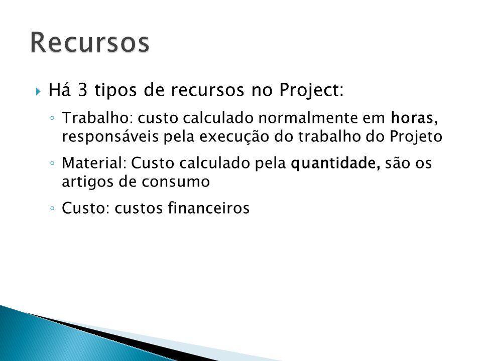  Há 3 tipos de recursos no Project: ◦ Trabalho: custo calculado normalmente em horas, responsáveis pela execução do trabalho do Projeto ◦ Material: C