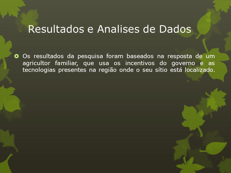 Resultados e Analises de Dados  Os resultados da pesquisa foram baseados na resposta de um agricultor familiar, que usa os incentivos do governo e as