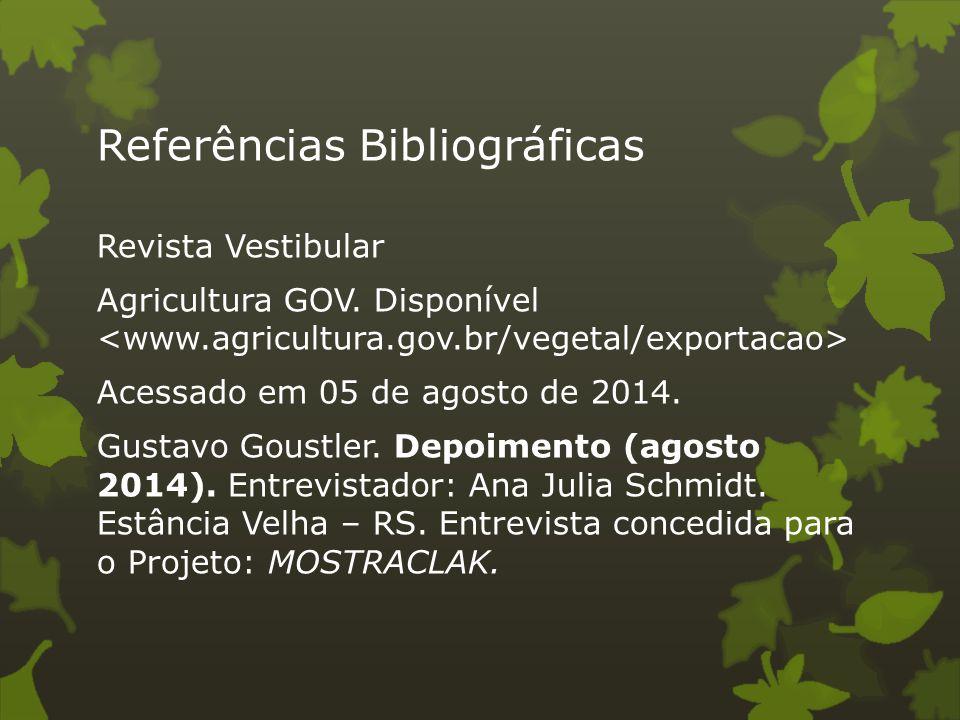 Referências Bibliográficas Revista Vestibular Agricultura GOV. Disponível Acessado em 05 de agosto de 2014. Gustavo Goustler. Depoimento (agosto 2014)