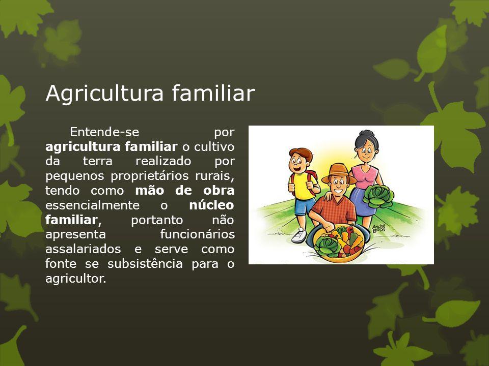 Agricultura familiar Entende-se por agricultura familiar o cultivo da terra realizado por pequenos proprietários rurais, tendo como mão de obra essenc