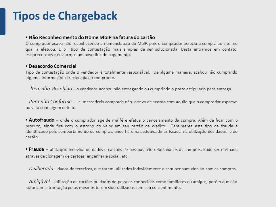 Tipos de Chargeback Não Reconhecimento do Nome MoIP na fatura do cartão O comprador acaba não reconhecendo a nomenclatura do MoIP, pois o comprador associa a compra ao site no qual a efetuou.