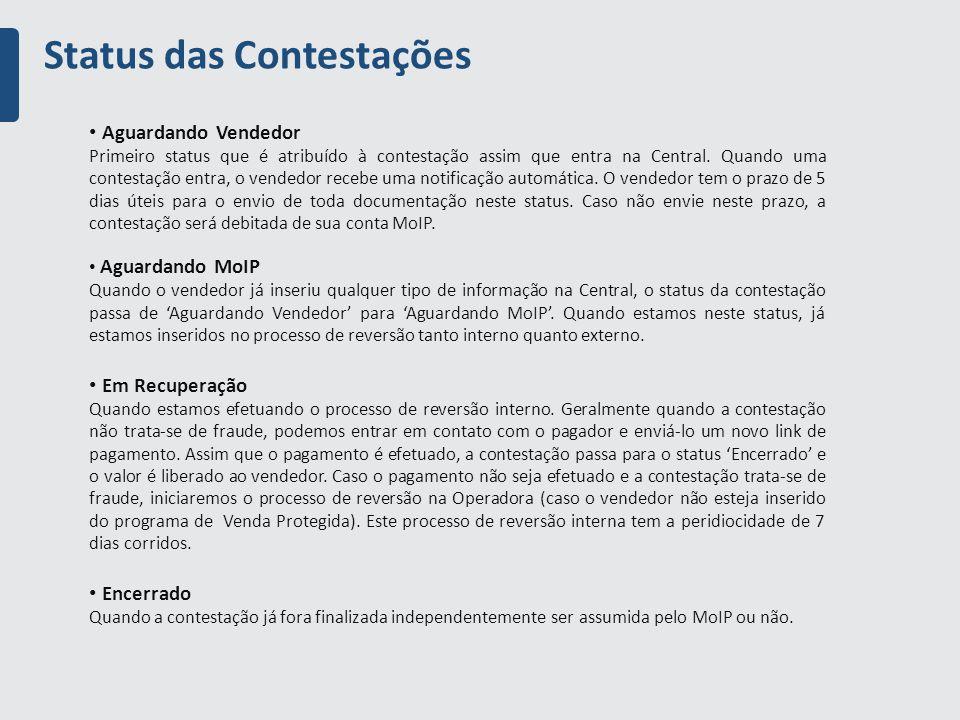 Status das Contestações Aguardando Vendedor Primeiro status que é atribuído à contestação assim que entra na Central.