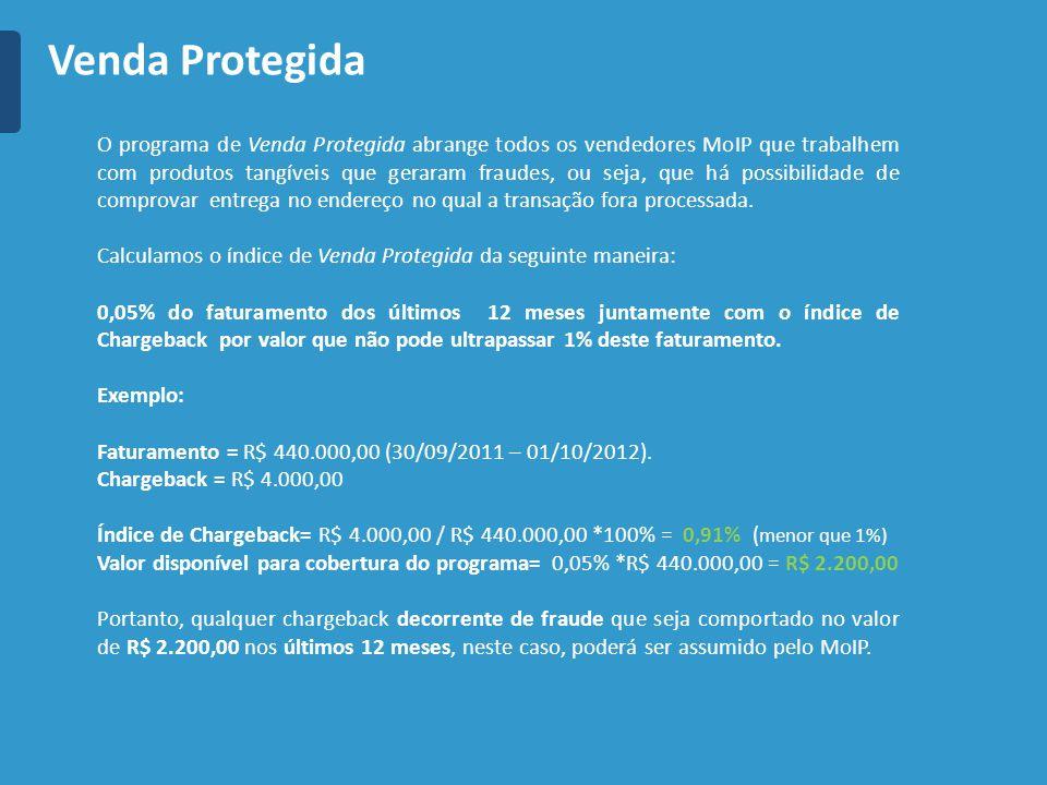 O programa de Venda Protegida abrange todos os vendedores MoIP que trabalhem com produtos tangíveis que geraram fraudes, ou seja, que há possibilidade de comprovar entrega no endereço no qual a transação fora processada.