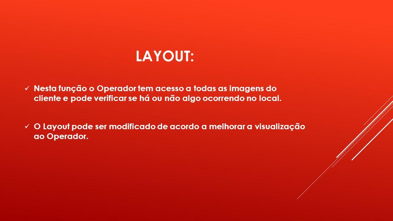 LAYOUT: Nesta função o Operador tem acesso a todas as imagens do cliente e pode verificar se há ou não algo ocorrendo no local. O Layout pode ser modi