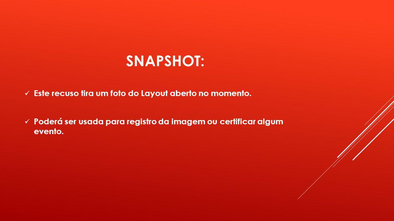 SNAPSHOT: Este recuso tira um foto do Layout aberto no momento. Poderá ser usada para registro da imagem ou certificar algum evento.