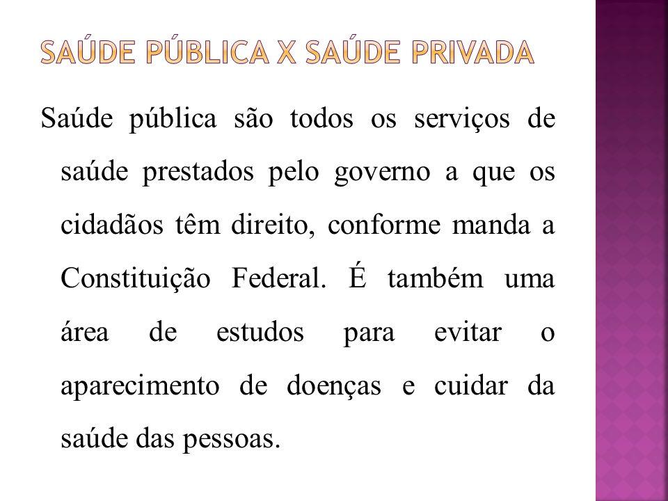 Saúde pública são todos os serviços de saúde prestados pelo governo a que os cidadãos têm direito, conforme manda a Constituição Federal.
