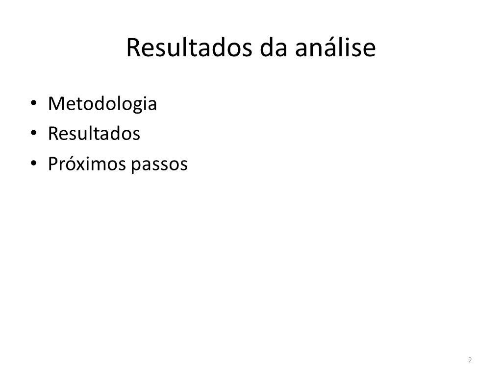 Resultados da análise Metodologia Resultados Próximos passos 2