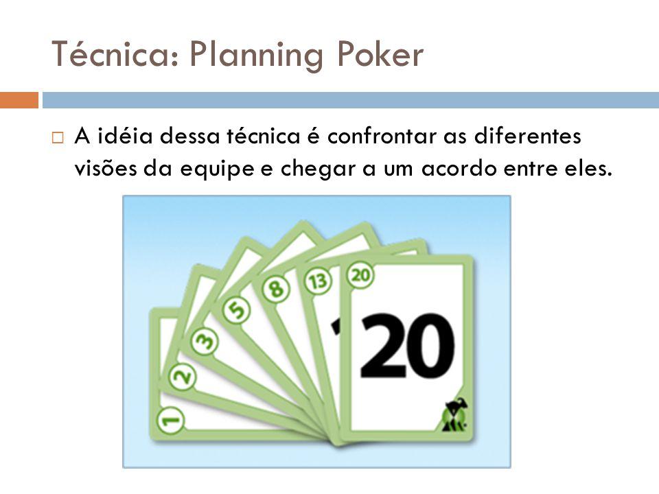 Técnica: Planning Poker  A idéia dessa técnica é confrontar as diferentes visões da equipe e chegar a um acordo entre eles.