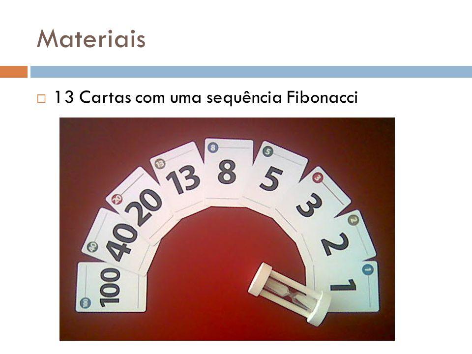 Materiais  13 Cartas com uma sequência Fibonacci