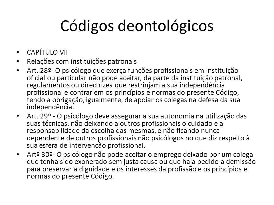 Códigos deontológicos CAPÍTULO VII Relações com instituições patronais Art. 28º- O psicólogo que exerça funções profissionais em instituição oficial o