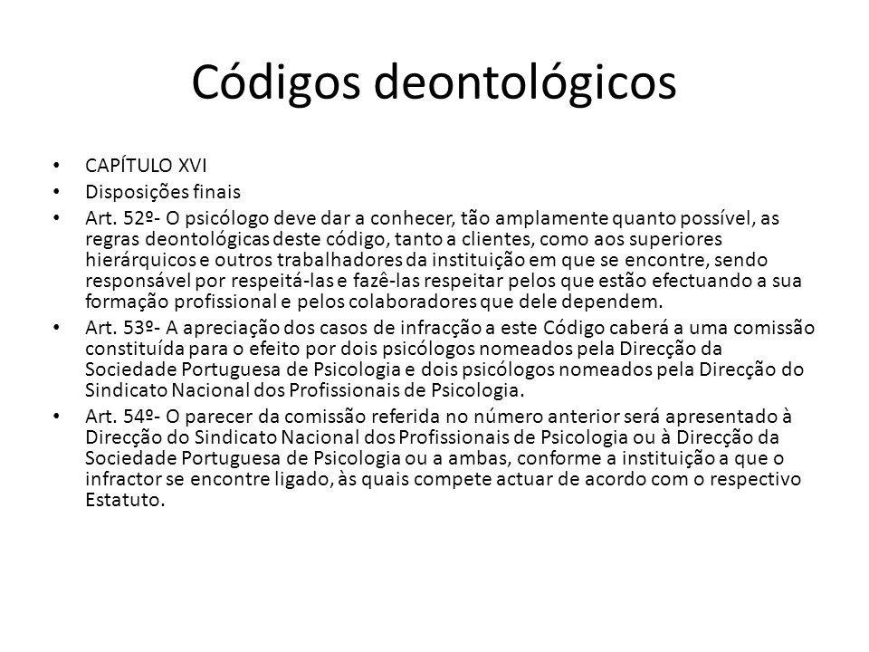 Códigos deontológicos CAPÍTULO XVI Disposições finais Art. 52º- O psicólogo deve dar a conhecer, tão amplamente quanto possível, as regras deontológic