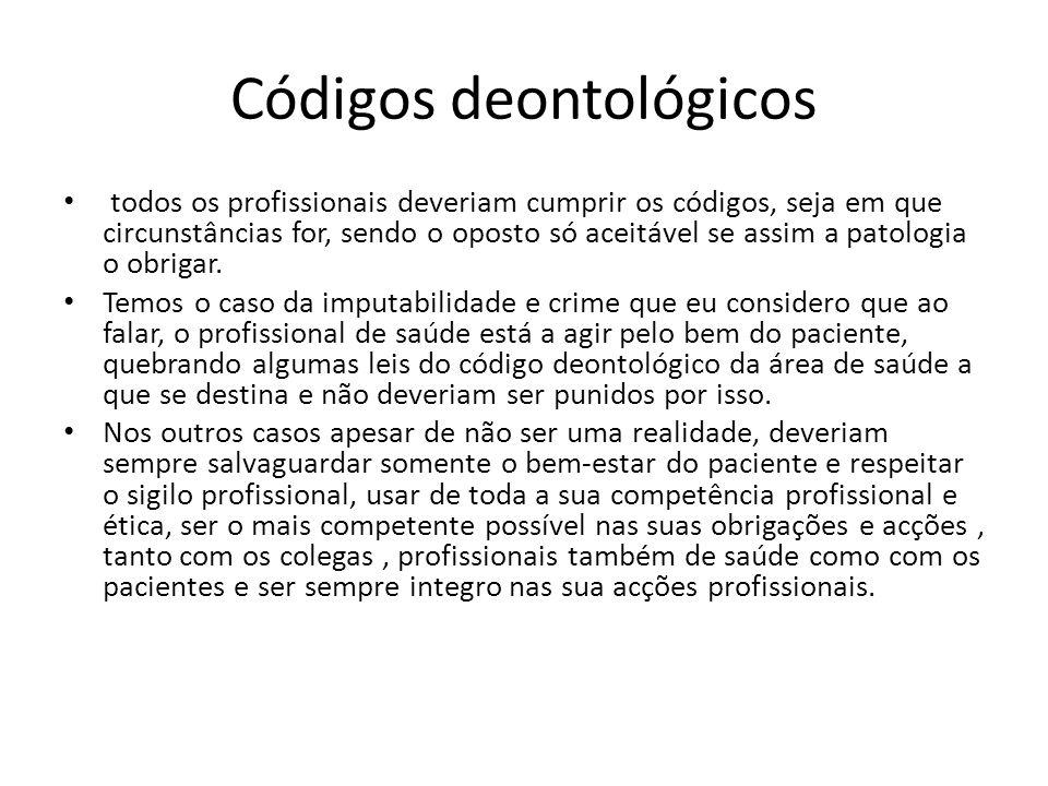 Códigos deontológicos todos os profissionais deveriam cumprir os códigos, seja em que circunstâncias for, sendo o oposto só aceitável se assim a patol