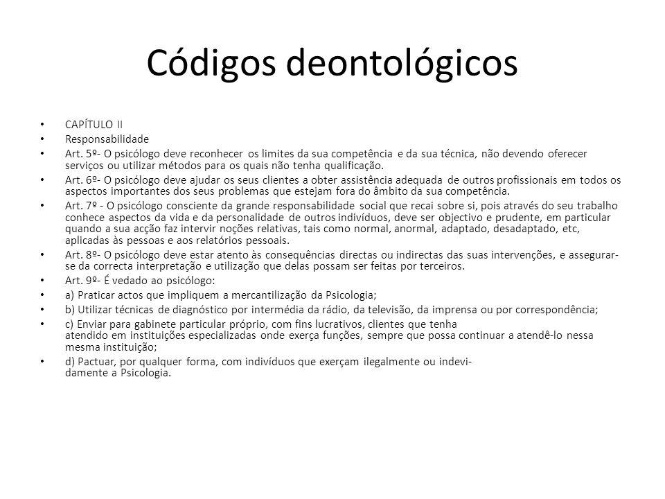 Códigos deontológicos CAPÍTULO XI Publicidade profissional Art.44º- O psicólogo ao divulgar publicamente a sua disponibilidade para a prestação de serviços, deve fazê-lo com exactidão e dignidade científica e profissional.