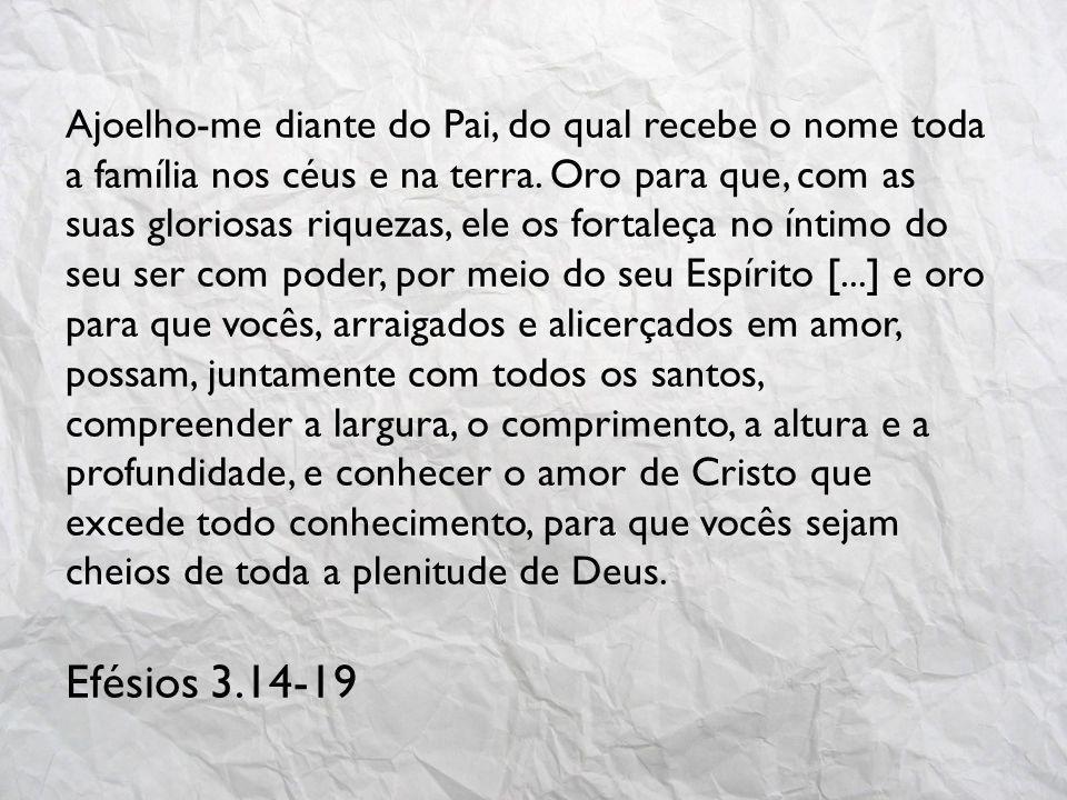 Ajoelho-me diante do Pai, do qual recebe o nome toda a família nos céus e na terra.