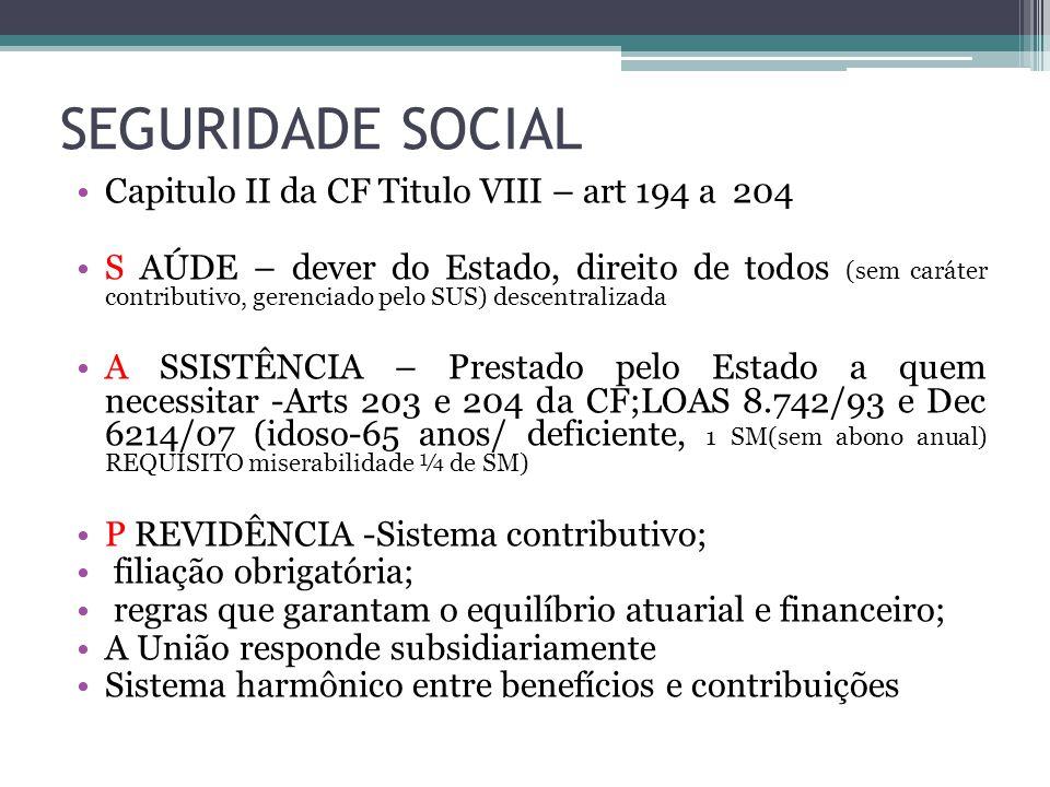 SEGURIDADE SOCIAL Capitulo II da CF Titulo VIII – art 194 a 204 S AÚDE – dever do Estado, direito de todos (sem caráter contributivo, gerenciado pelo