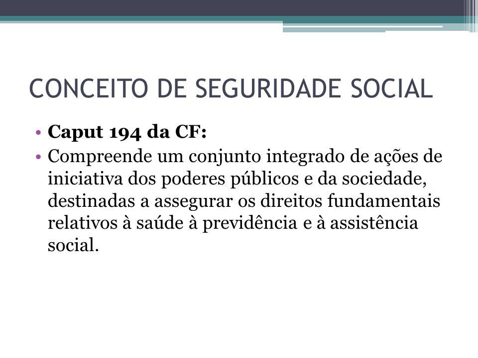 CONCEITO DE SEGURIDADE SOCIAL Caput 194 da CF: Compreende um conjunto integrado de ações de iniciativa dos poderes públicos e da sociedade, destinadas