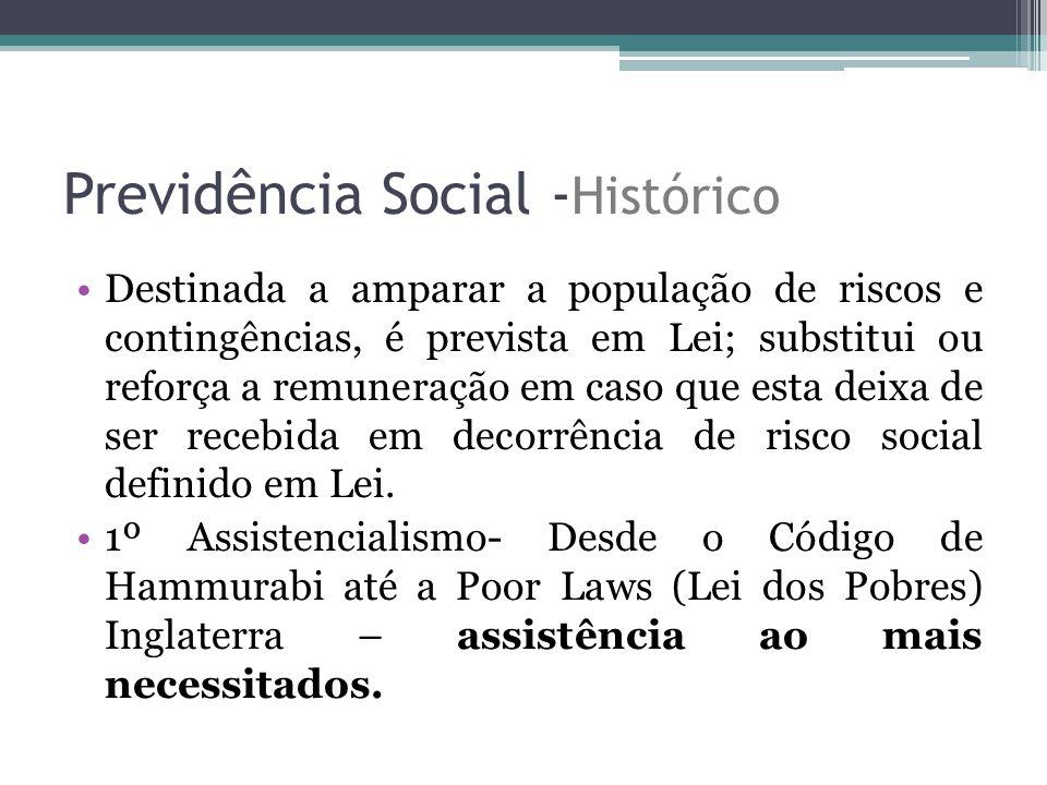 Previdência Social - Histórico Destinada a amparar a população de riscos e contingências, é prevista em Lei; substitui ou reforça a remuneração em cas