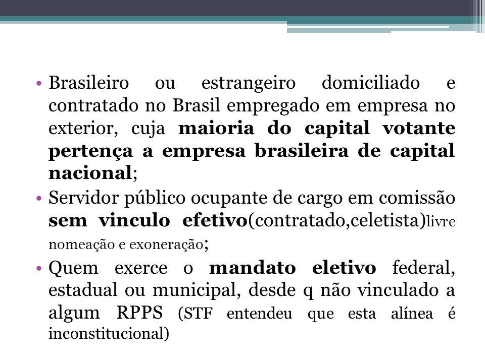 Brasileiro ou estrangeiro domiciliado e contratado no Brasil empregado em empresa no exterior, cuja maioria do capital votante pertença a empresa bras