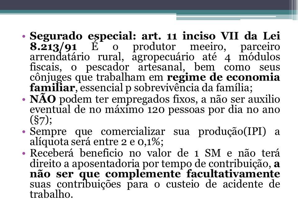 Segurado especial: art. 11 inciso VII da Lei 8.213/91 É o produtor meeiro, parceiro arrendatário rural, agropecuário até 4 módulos fiscais, o pescador
