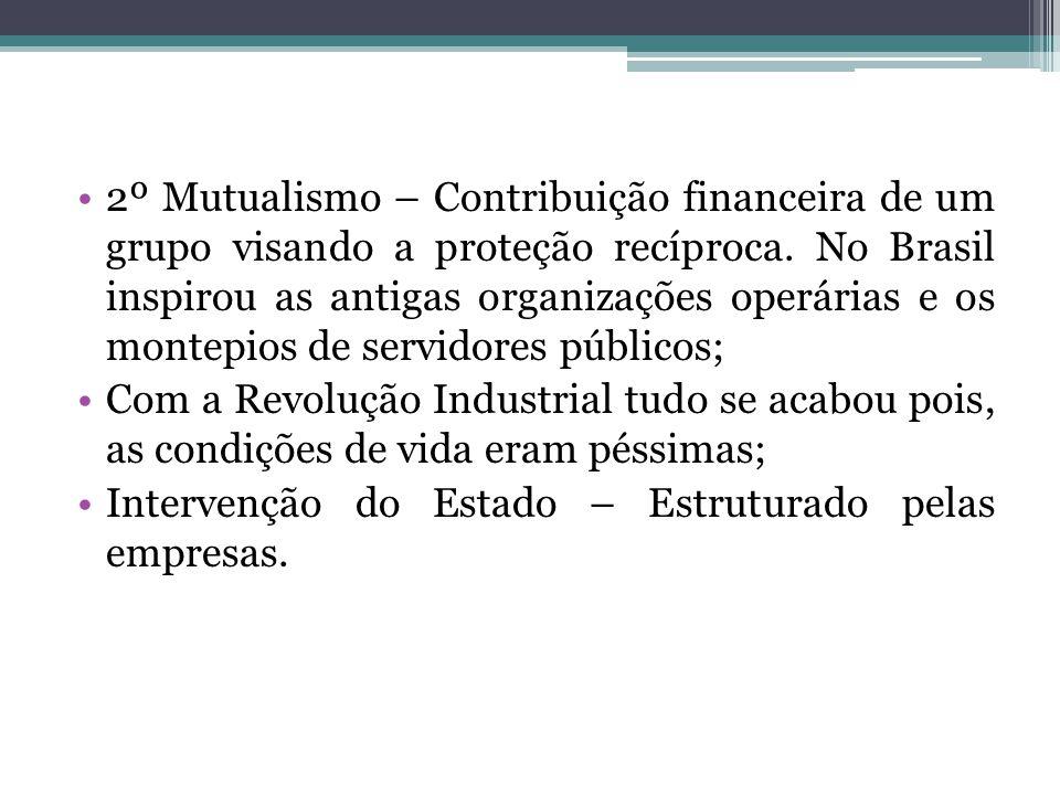 2º Mutualismo – Contribuição financeira de um grupo visando a proteção recíproca. No Brasil inspirou as antigas organizações operárias e os montepios