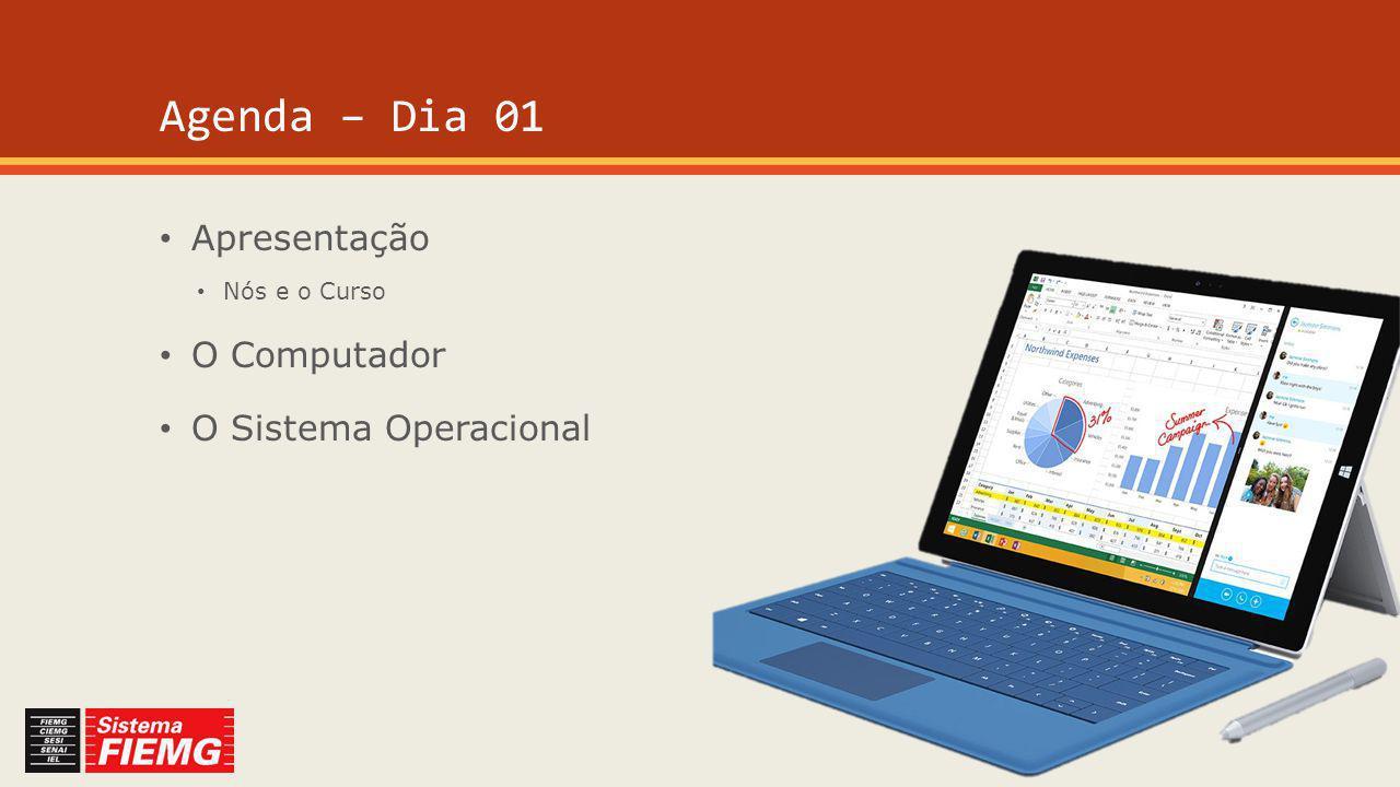 Agenda – Dia 01 Apresentação Nós e o Curso O Computador O Sistema Operacional