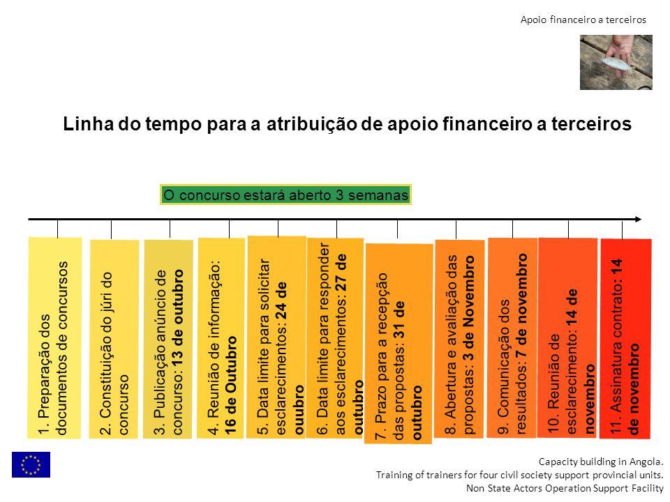 Apoio financeiro a terceiros Linha do tempo para a atribuição de apoio financeiro a terceiros Capacity building in Angola. Training of trainers for fo