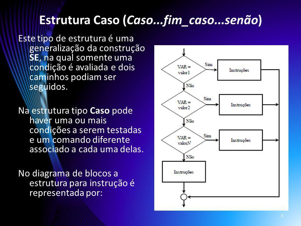Este tipo de estrutura é uma generalização da construção SE, na qual somente uma condição é avaliada e dois caminhos podiam ser seguidos. Na estrutura