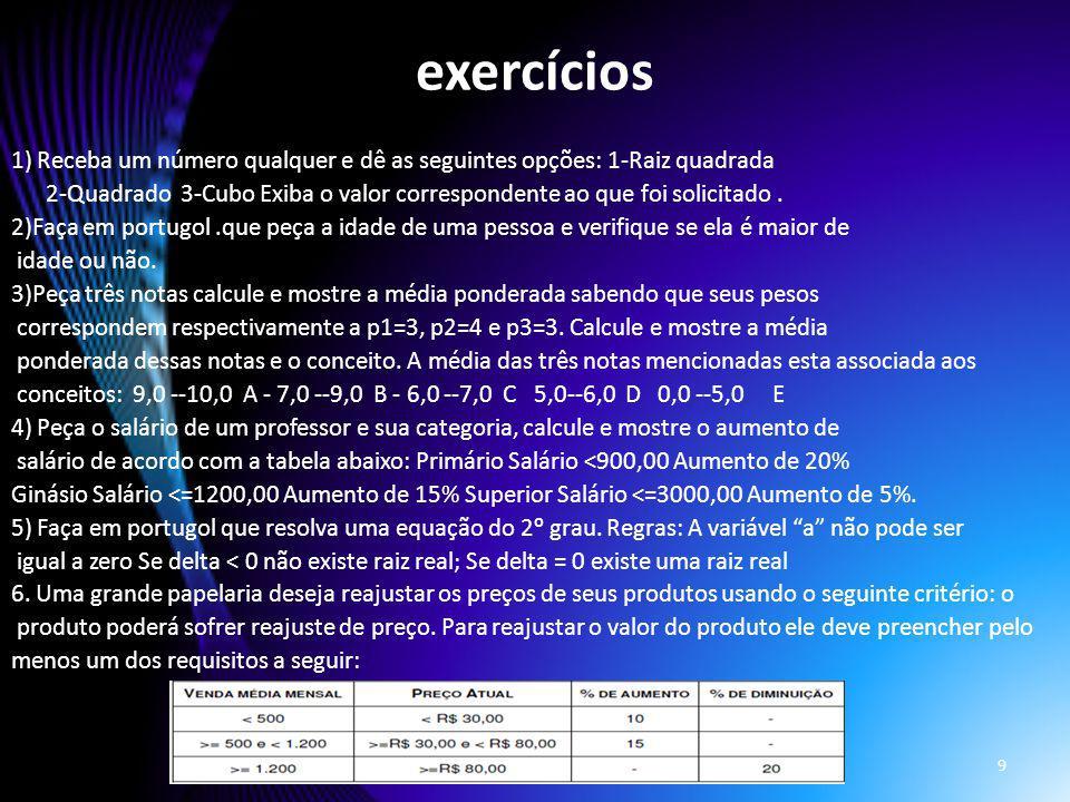 exercícios 1) Receba um número qualquer e dê as seguintes opções: 1-Raiz quadrada 2-Quadrado 3-Cubo Exiba o valor correspondente ao que foi solicitado