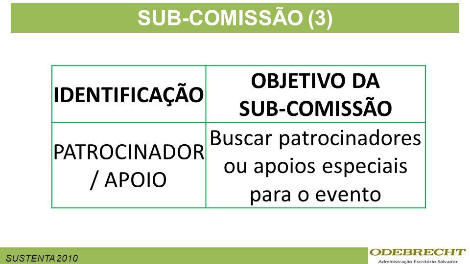 SUSTENTA 2010 SUB-COMISSÃO (3) IDENTIFICAÇÃO OBJETIVO DA SUB-COMISSÃO PATROCINADOR / APOIO Buscar patrocinadores ou apoios especiais para o evento