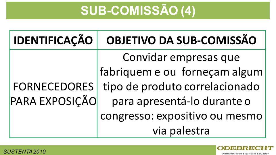 SUSTENTA 2010 SUB-COMISSÃO (4) IDENTIFICAÇÃOOBJETIVO DA SUB-COMISSÃO FORNECEDORES PARA EXPOSIÇÃO Convidar empresas que fabriquem e ou forneçam algum tipo de produto correlacionado para apresentá-lo durante o congresso: expositivo ou mesmo via palestra