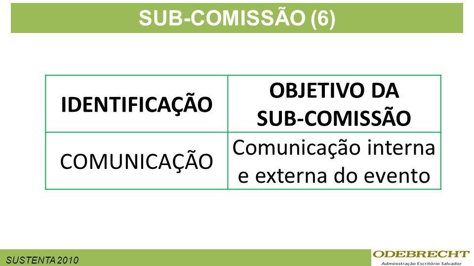 SUSTENTA 2010 SUB-COMISSÃO (6) IDENTIFICAÇÃO OBJETIVO DA SUB-COMISSÃO COMUNICAÇÃO Comunicação interna e externa do evento