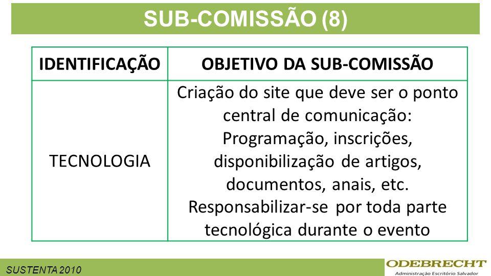 SUSTENTA 2010 SUB-COMISSÃO (8) IDENTIFICAÇÃOOBJETIVO DA SUB-COMISSÃO TECNOLOGIA Criação do site que deve ser o ponto central de comunicação: Programação, inscrições, disponibilização de artigos, documentos, anais, etc.