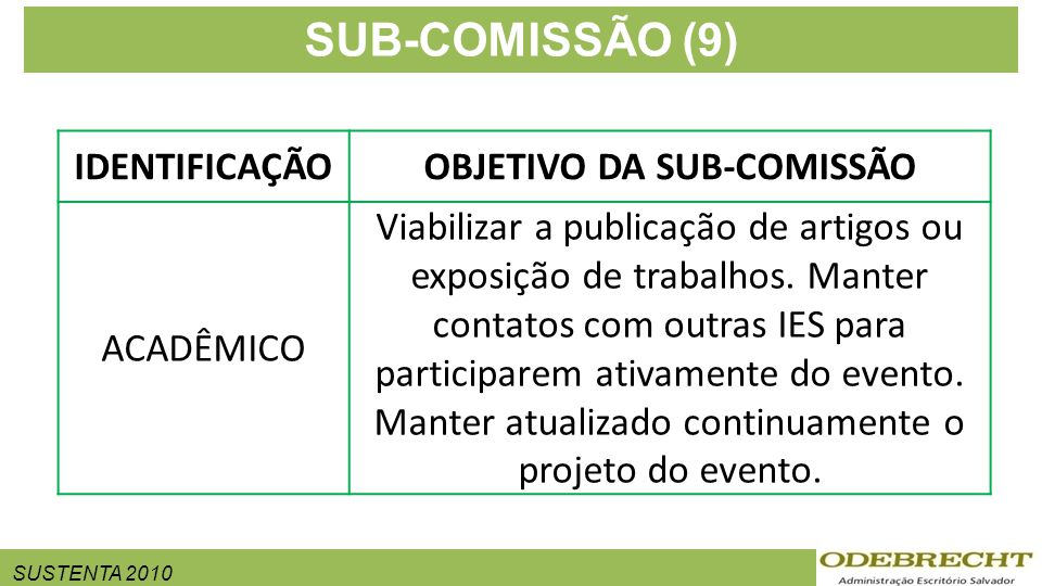 SUSTENTA 2010 SUB-COMISSÃO (9) IDENTIFICAÇÃOOBJETIVO DA SUB-COMISSÃO ACADÊMICO Viabilizar a publicação de artigos ou exposição de trabalhos. Manter co
