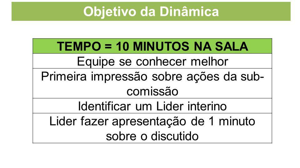 Objetivo da Dinâmica TEMPO = 10 MINUTOS NA SALA Equipe se conhecer melhor Primeira impressão sobre ações da sub- comissão Identificar um Lider interin