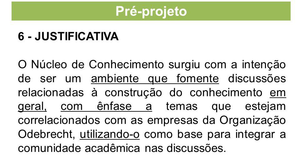 Pré-projeto 6 - JUSTIFICATIVA O Núcleo de Conhecimento surgiu com a intenção de ser um ambiente que fomente discussões relacionadas à construção do co
