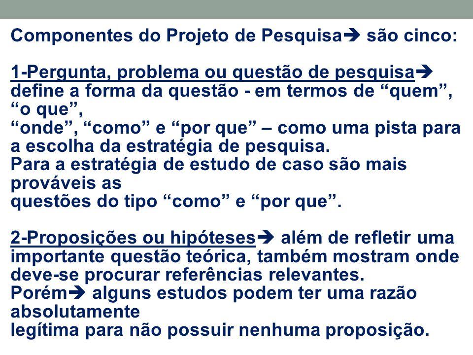 """Componentes do Projeto de Pesquisa  são cinco: 1-Pergunta, problema ou questão de pesquisa  define a forma da questão - em termos de """"quem"""", """"o que"""""""