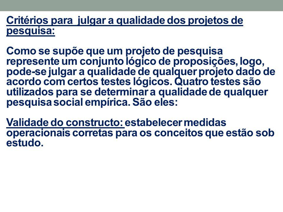 Critérios para julgar a qualidade dos projetos de pesquisa: Como se supõe que um projeto de pesquisa represente um conjunto lógico de proposições, log