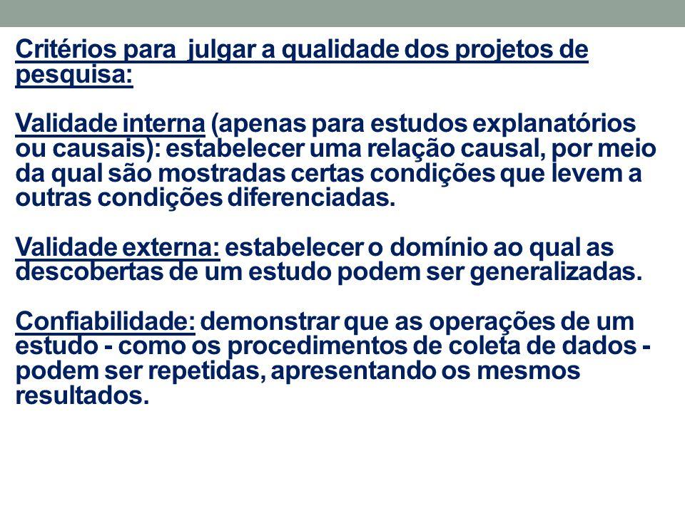 Critérios para julgar a qualidade dos projetos de pesquisa: Validade interna (apenas para estudos explanatórios ou causais): estabelecer uma relação c