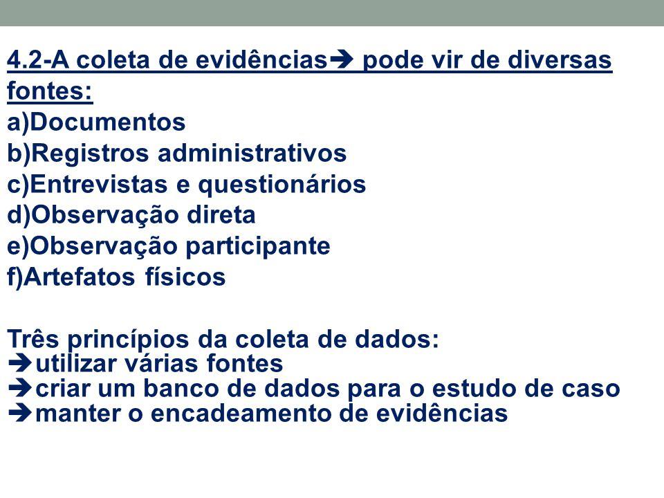 4.2-A coleta de evidências  pode vir de diversas fontes: a)Documentos b)Registros administrativos c)Entrevistas e questionários d)Observação direta e