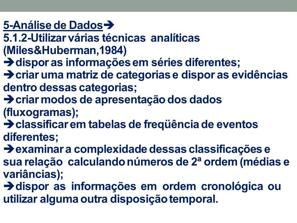 5-Análise de Dados  5.1.2-Utilizar várias técnicas analíticas (Miles&Huberman,1984)  dispor as informações em séries diferentes;  criar uma matriz