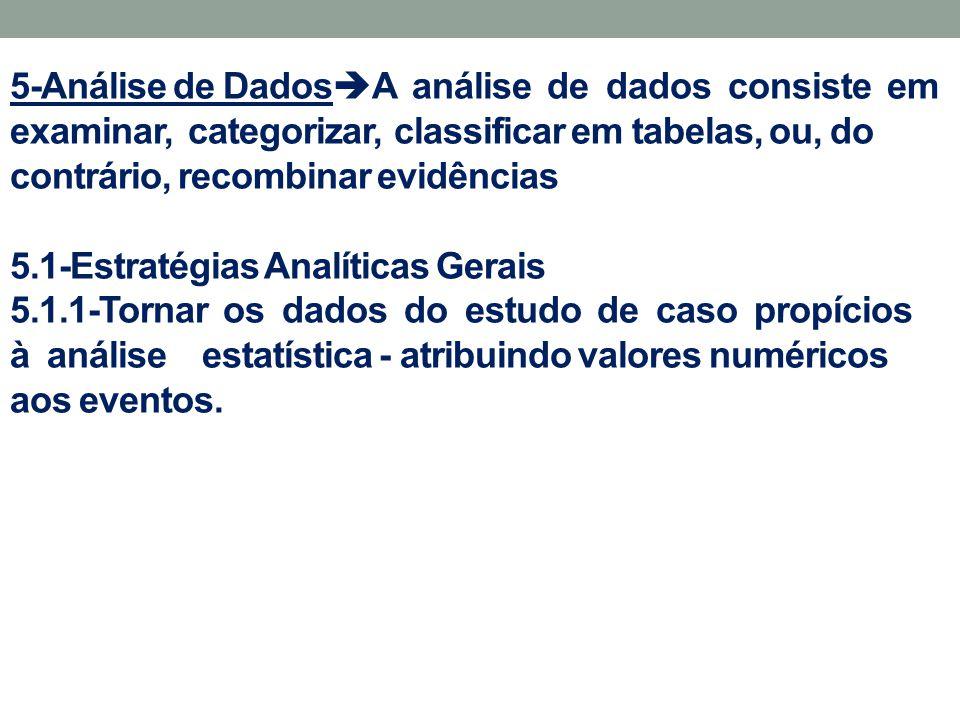 5-Análise de Dados  A análise de dados consiste em examinar, categorizar, classificar em tabelas, ou, do contrário, recombinar evidências 5.1-Estraté