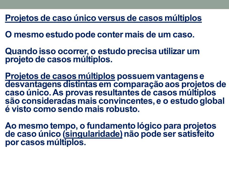 Projetos de caso único versus de casos múltiplos É provável que o caso raro ou incomum, o caso crítico e o caso revelador impliquem apenas em casos únicos, por definição.