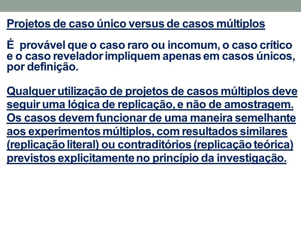 Projetos de caso único versus de casos múltiplos É provável que o caso raro ou incomum, o caso crítico e o caso revelador impliquem apenas em casos ún