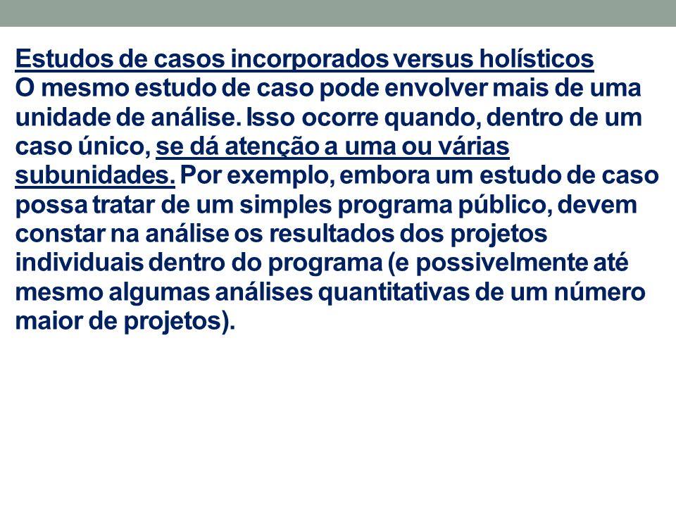 Estudos de casos incorporados versus holísticos Em um estudo organizacional, as unidades incorporadas também podem ser unidades de processo - como reuniões, funções ou locais determinados.
