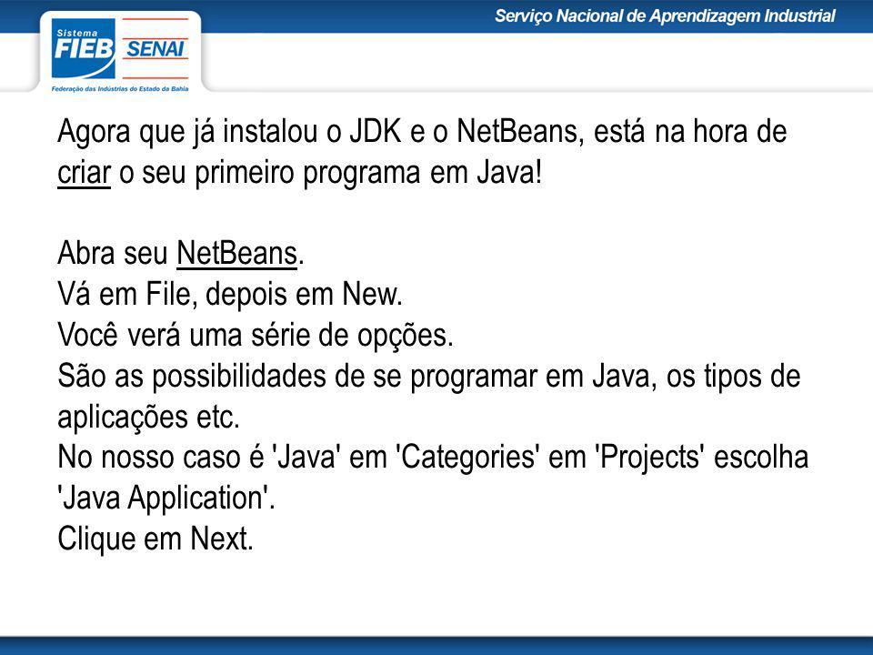 Agora que já instalou o JDK e o NetBeans, está na hora de criar o seu primeiro programa em Java.
