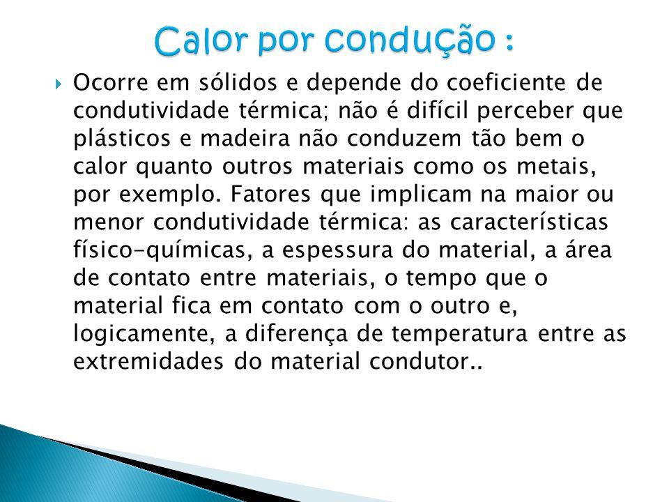  Ocorre em sólidos e depende do coeficiente de condutividade térmica; não é difícil perceber que plásticos e madeira não conduzem tão bem o calor qua