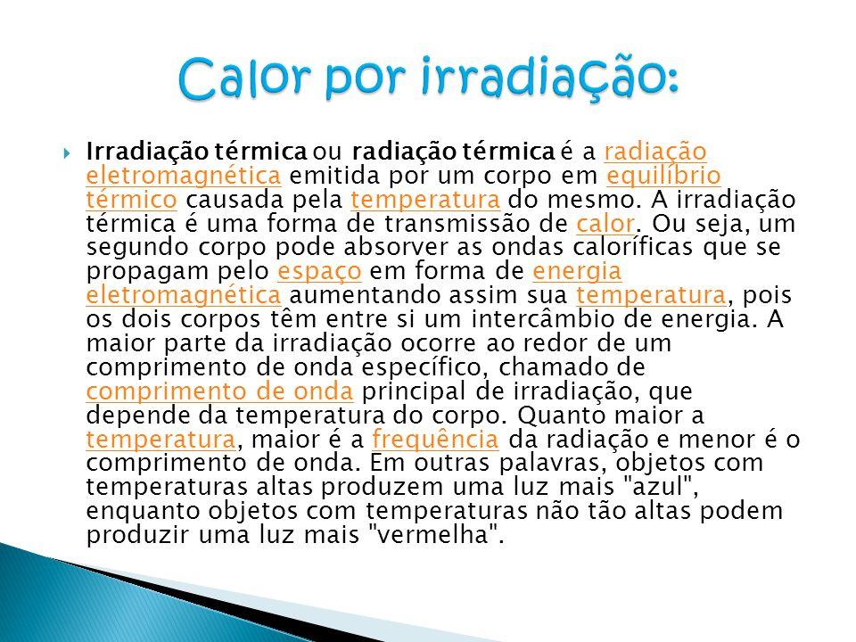  Irradiação térmica ou radiação térmica é a radiação eletromagnética emitida por um corpo em equilíbrio térmico causada pela temperatura do mesmo. A